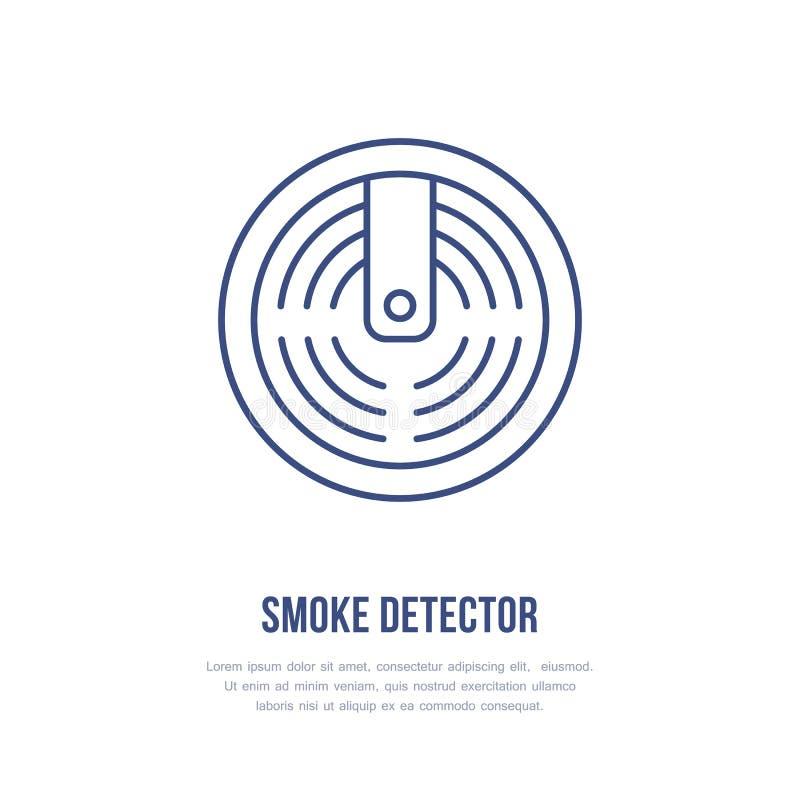 Segno del rilevatore di fumo Lotta contro l'incendio, linea piana icona dell'attrezzatura di protezione antincendio illustrazione di stock