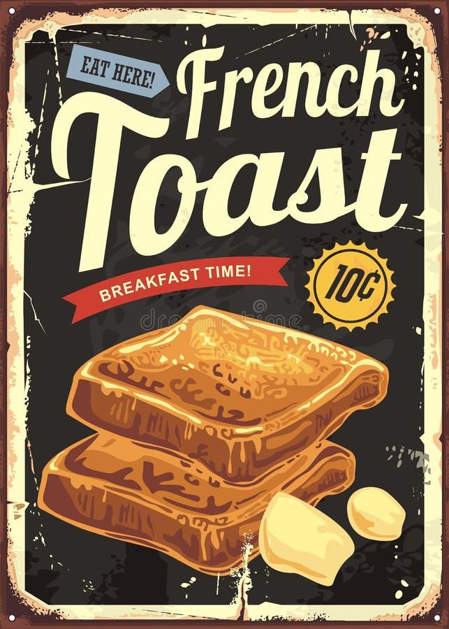 Segno del ristorante del pane inzuppato in latte/uova e zucchero e fritto in padella Retro manifesto di vettore per la barra o la royalty illustrazione gratis