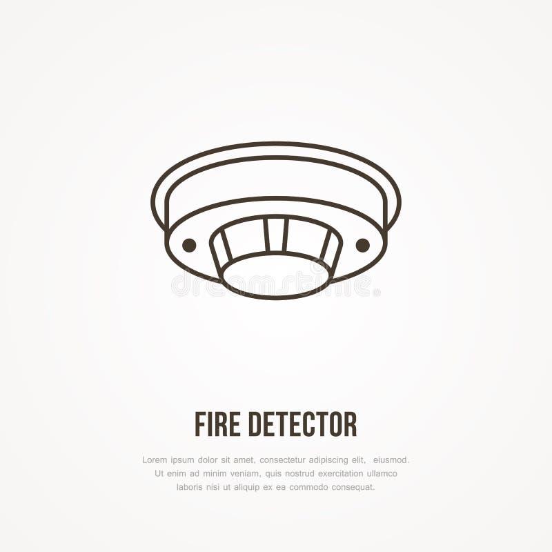 Segno del rivelatore di incendio Lotta contro l'incendio, linea piana icona dell'attrezzatura di sicurezza illustrazione di stock