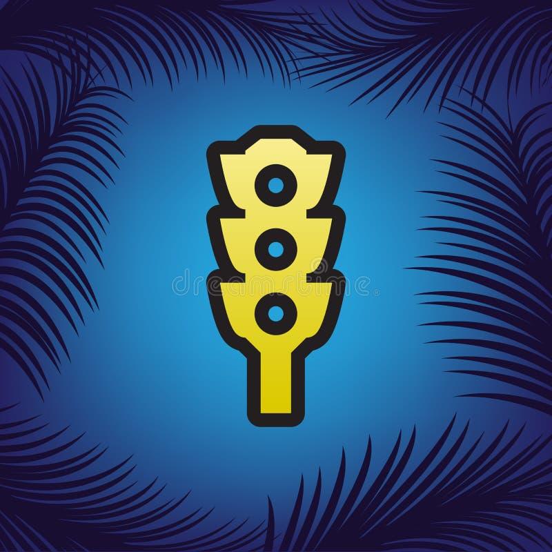 Segno del semaforo Vettore Icona dorata con il contorno nero al bl royalty illustrazione gratis