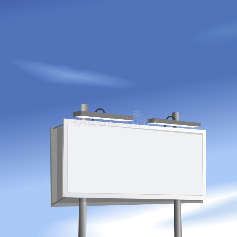 Segno del tabellone per le affissioni alto sulla priorità bassa del cielo blu illustrazione vettoriale