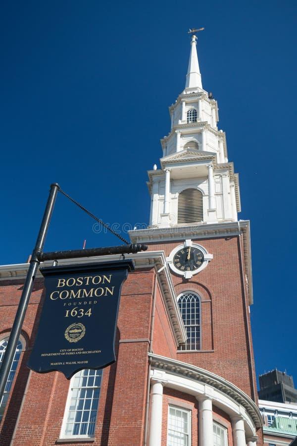 Segno del terreno comunale di Boston fotografia stock libera da diritti