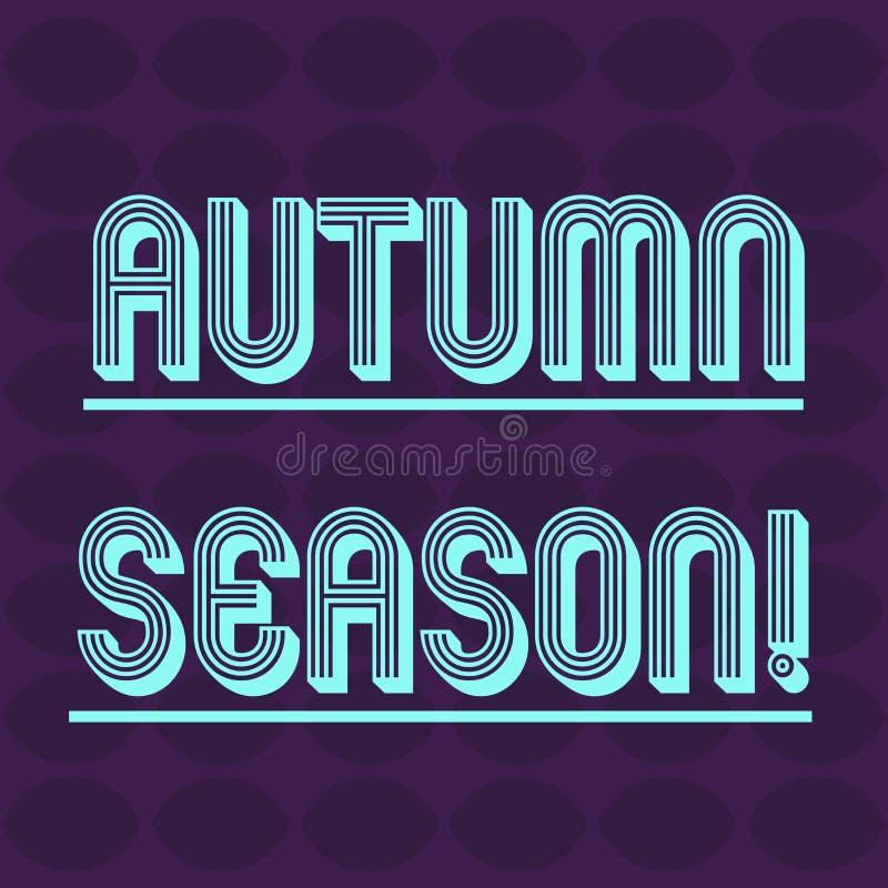 Segno del testo che mostra Autumn Season Foto concettuale è la stagione dopo l'estate, quando le foglie cadono dall'ovale degli a illustrazione di stock