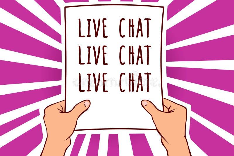 Segno del testo che mostra chiacchierata di Live Chat Live Chat Live Foto concettuale che parla con la carta online i della tenut illustrazione di stock