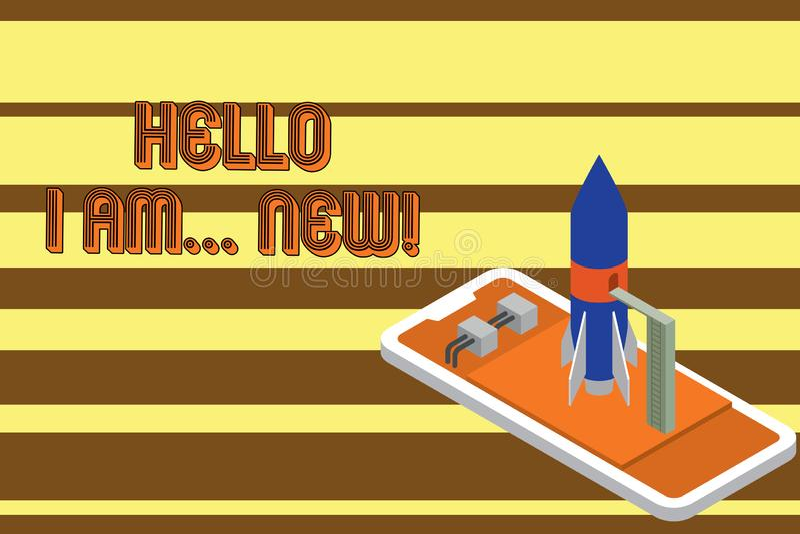 Segno del testo che mostra a ciao sono nuovo Foto concettuale usata come saluto o cominciare conversazione telefonica pronta a la illustrazione vettoriale