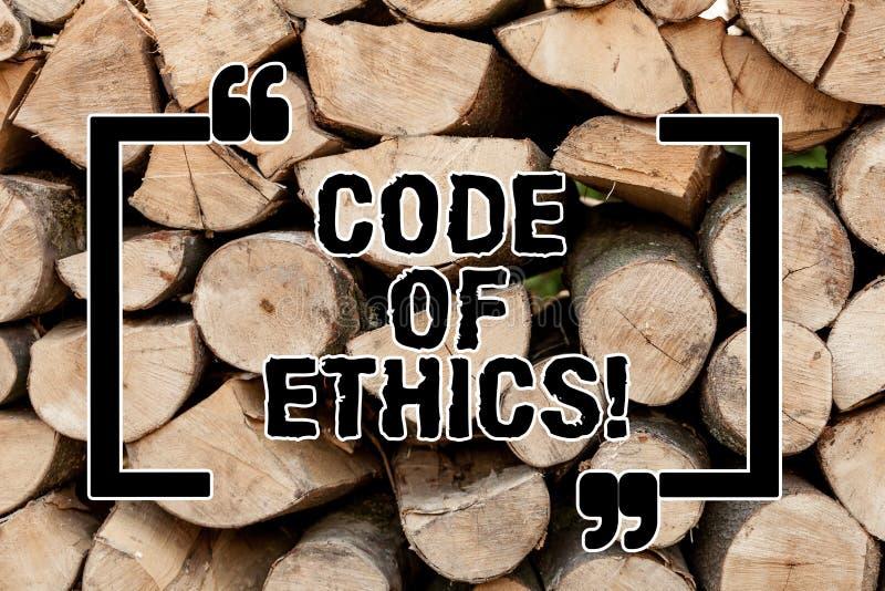 Segno del testo che mostra codice etico La morale concettuale della foto governa la buona procedura dell'onestà etica di integrit immagini stock