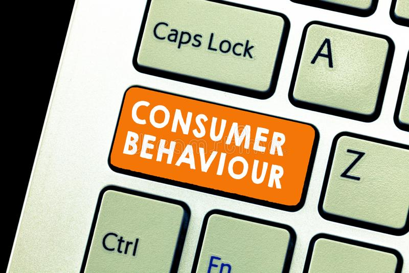 Segno del testo che mostra comportamento del consumatore Decisioni concettuali della foto che la gente prende per comprare o per  immagini stock