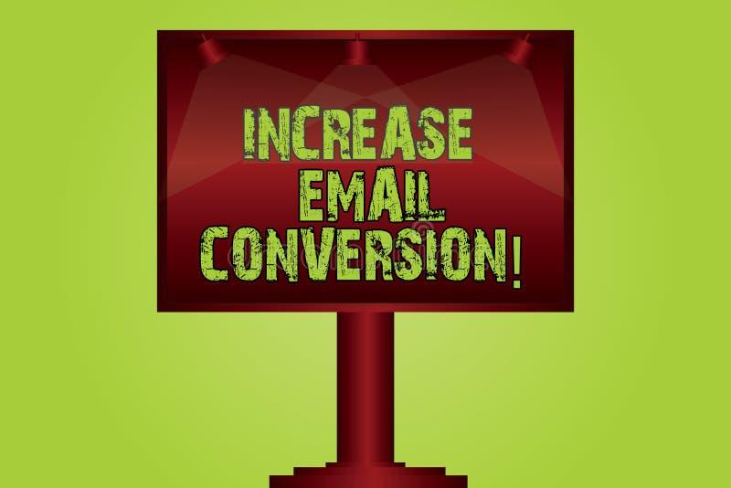 Segno del testo che mostra conversione del email di aumento Azione concettuale della foto che ha luogo sul vostro colore acceso d illustrazione di stock