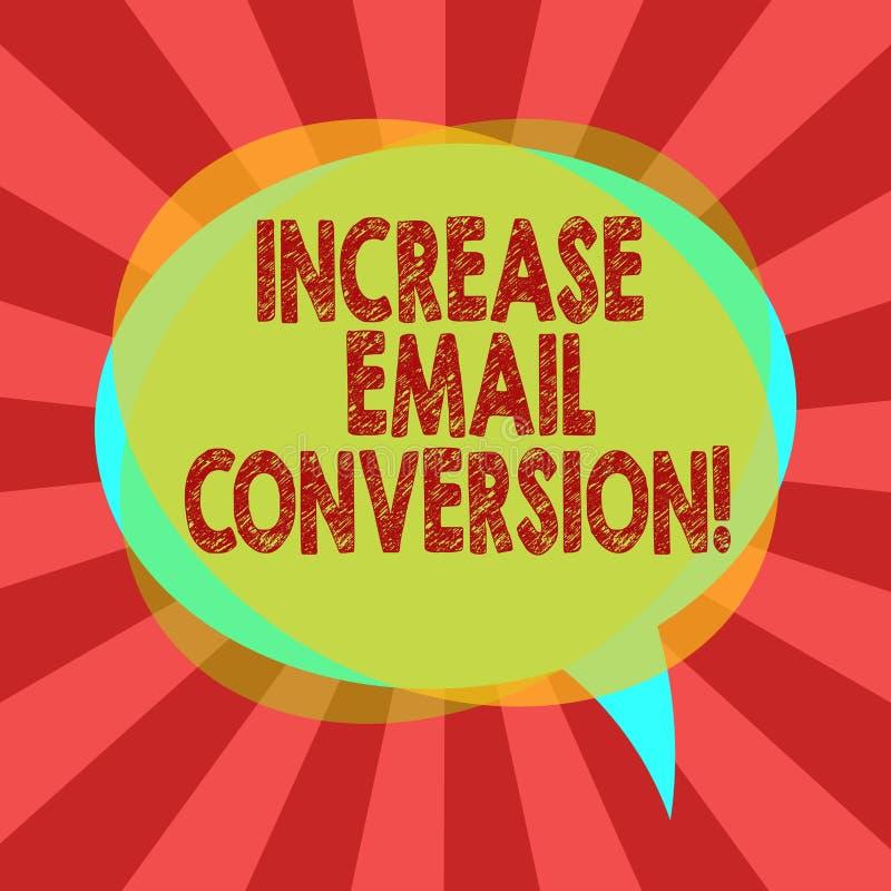 Segno del testo che mostra conversione del email di aumento Azione concettuale della foto che ha luogo sulla vostra foto d'atterr illustrazione di stock