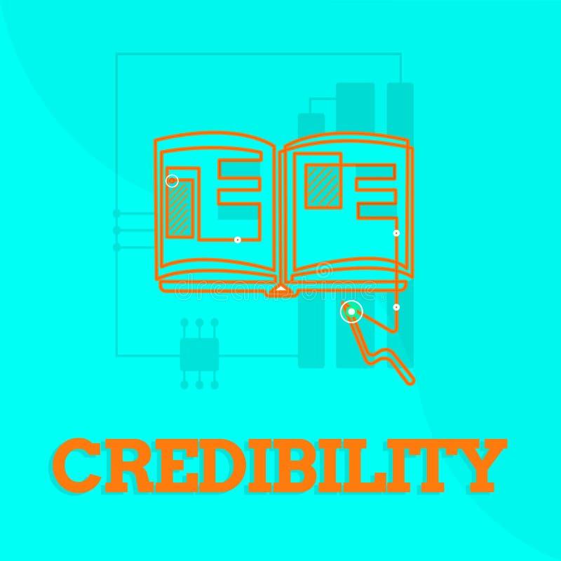 Segno del testo che mostra credibilità Qualità concettuale della foto di essere credibile di fiducia in modo convincente e credut illustrazione di stock