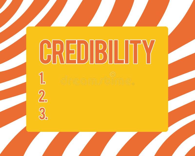 Segno del testo che mostra credibilità Qualità concettuale della foto di essere credibile di fiducia in modo convincente e credut royalty illustrazione gratis