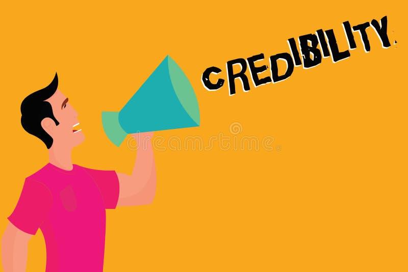 Segno del testo che mostra credibilità Qualità concettuale della foto di essere credibile di fiducia in modo convincente e credut illustrazione vettoriale