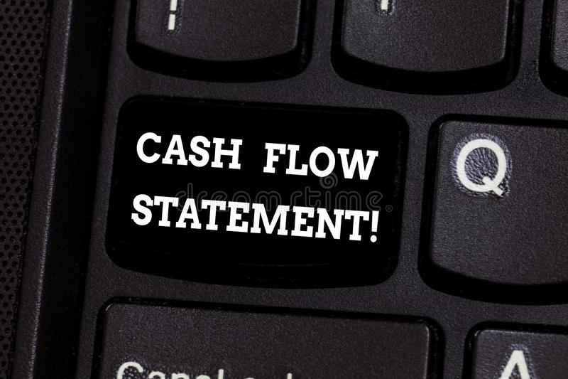 Segno del testo che mostra dichiarazione del flusso di cassa Contanti finanziari di misure della foto concettuale generati usati  immagini stock