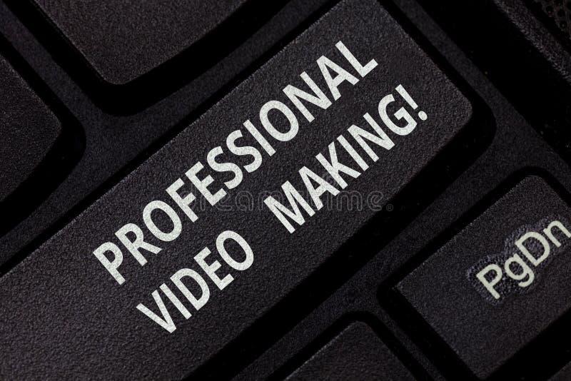 Segno del testo che mostra fabbricazione professionale del video Immagini concettuali di cineasta della foto digitalmente registr fotografia stock libera da diritti