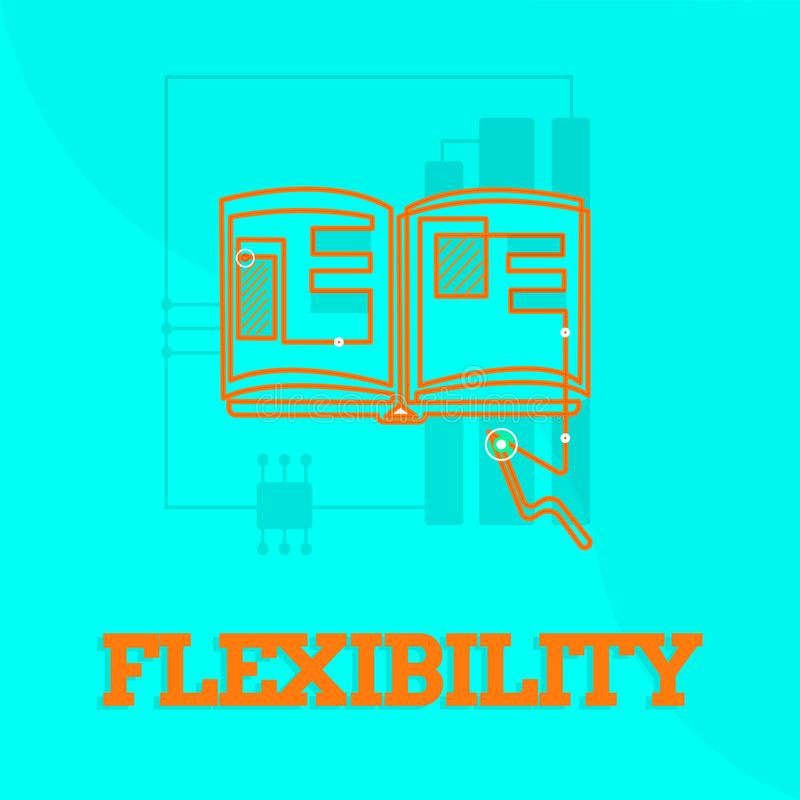 Segno del testo che mostra flessibilità Qualità concettuale della foto di piegamento modificata facilmente senza rompere allungam royalty illustrazione gratis