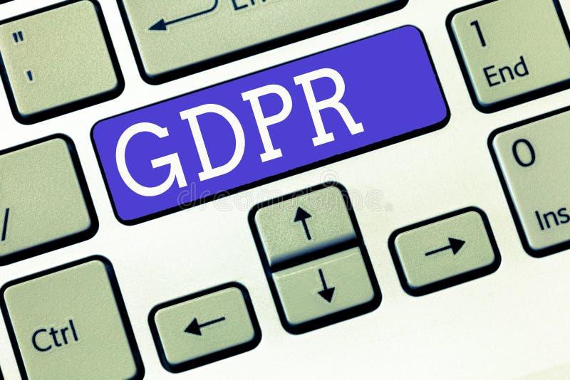 Segno del testo che mostra GDPR Regolamento concettuale della foto nella legge di UE sul quadro giuridico di segretezza e di prot fotografie stock