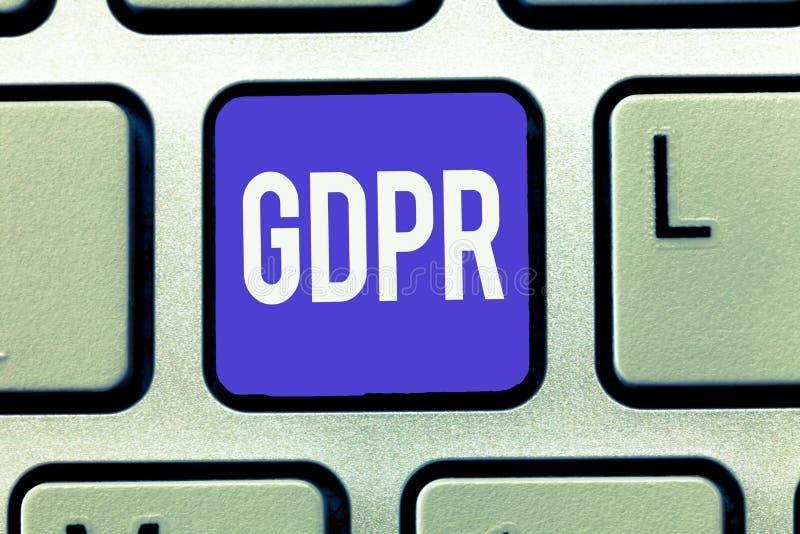 Segno del testo che mostra GDPR Regolamento concettuale della foto nella legge di UE sul quadro giuridico di segretezza e di prot fotografia stock