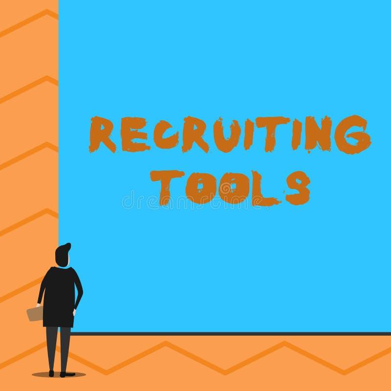 Segno del testo che mostra gli strumenti di reclutamento E immagine stock