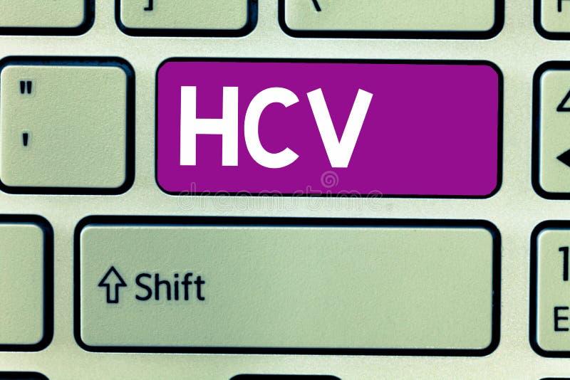 Segno del testo che mostra Hcv Agente infettivo della foto concettuale che causa l'infiammazione dell'infezione virale del fegato fotografie stock libere da diritti