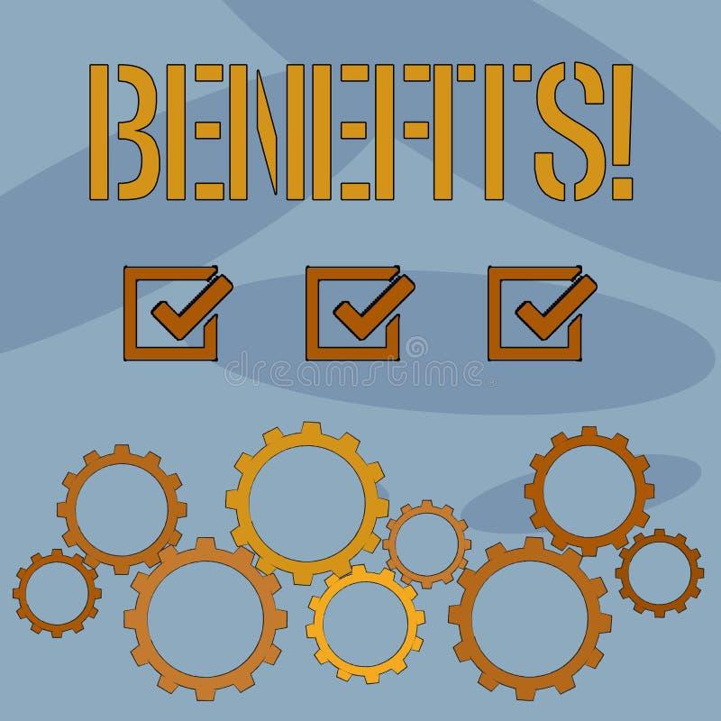 Segno del testo che mostra i benefici Aiuto concettuale di guadagno del reddito di interesse della compensazione di assicurazione royalty illustrazione gratis