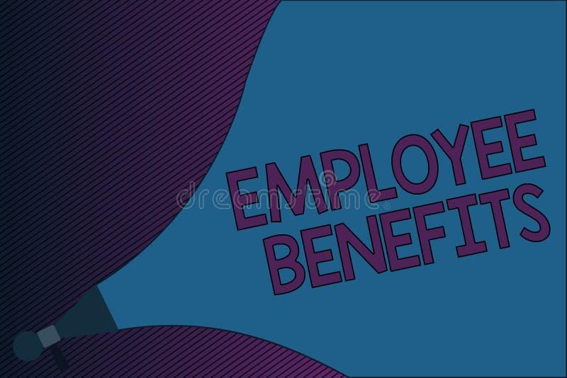 Segno del testo che mostra i benefici degli impiegati Foto concettuale indiretta e compensazione del noncash pagata ad un impiega illustrazione di stock