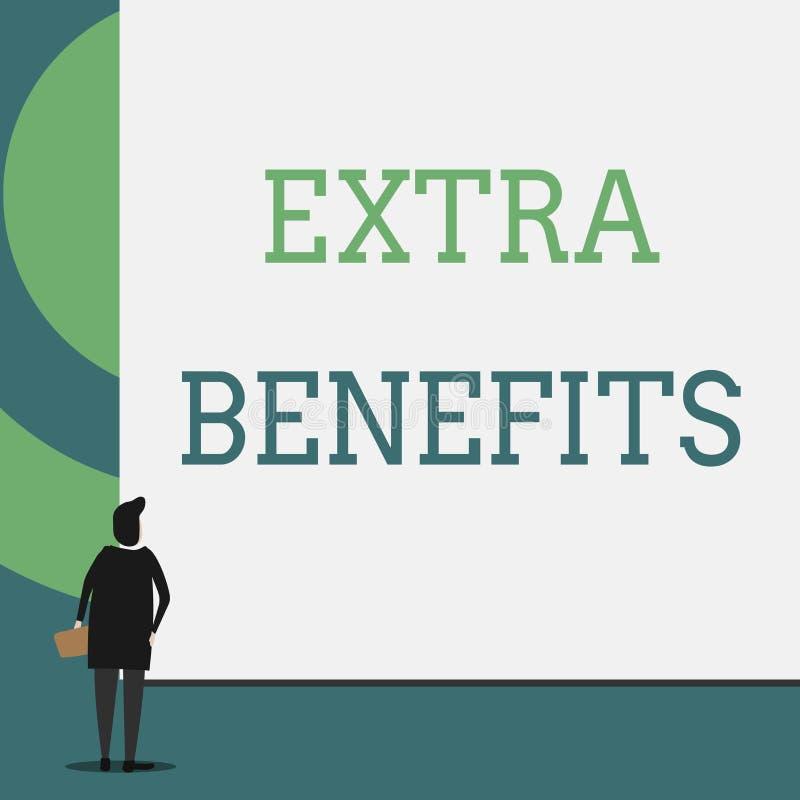Segno del testo che mostra i benefici extra Indennità supplementari di incentivi di sovvenzioni di indennità della compensazione  illustrazione di stock