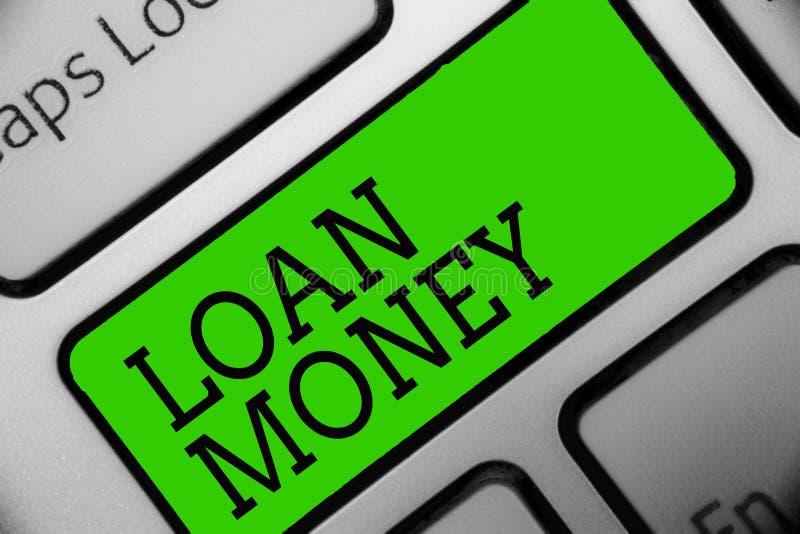 Segno del testo che mostra i soldi di prestito Foto concettuale qualcosa prestato o ammobiliato sulla circostanza che è chiave re immagine stock