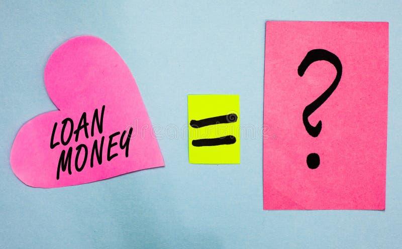 Segno del testo che mostra i soldi di prestito La foto concettuale qualcosa prestato o ammobiliato sulla circostanza che è carta  fotografie stock