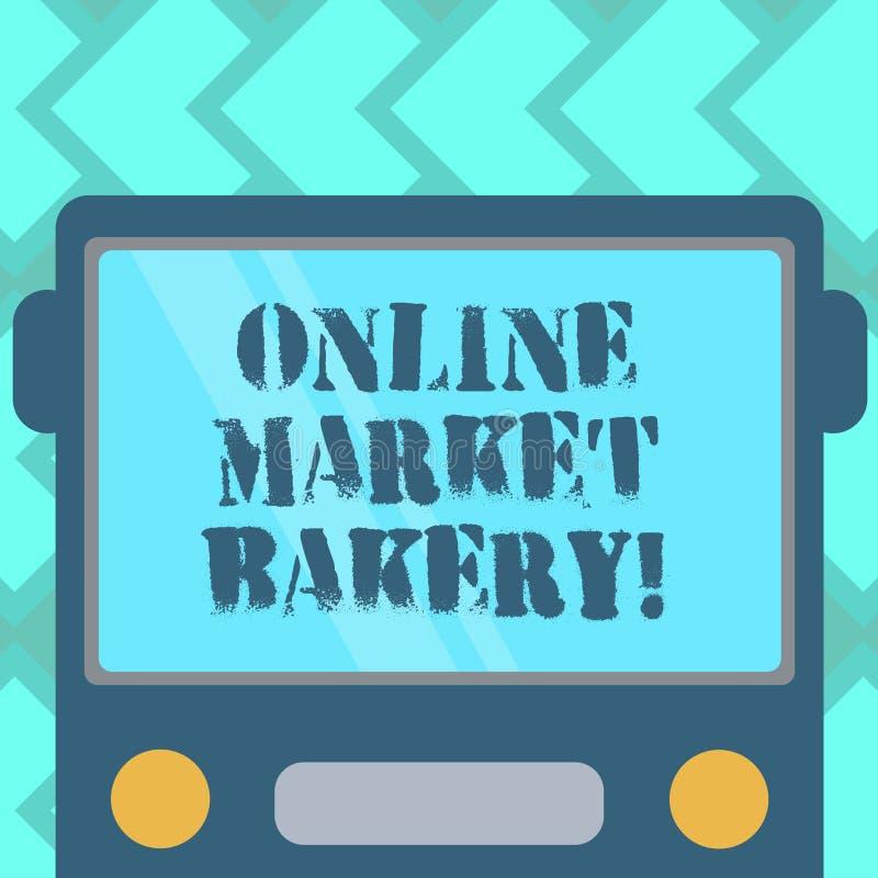 Segno del testo che mostra il forno online del mercato La foto concettuale produce e vende l'alimento flourbased cotto in forno e illustrazione vettoriale