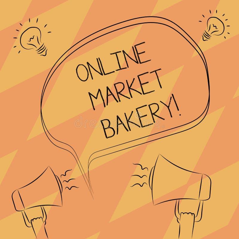 Segno del testo che mostra il forno online del mercato La foto concettuale produce e vende l'alimento flourbased cotto in forno a illustrazione vettoriale