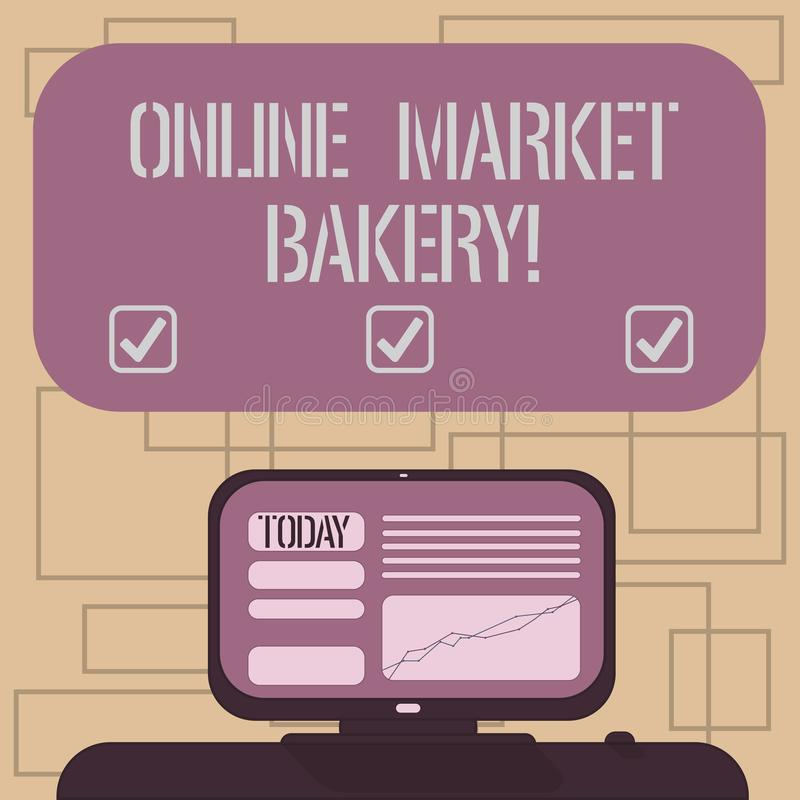 Segno del testo che mostra il forno online del mercato La foto concettuale produce e vende l'alimento flourbased cotto in forno m illustrazione di stock
