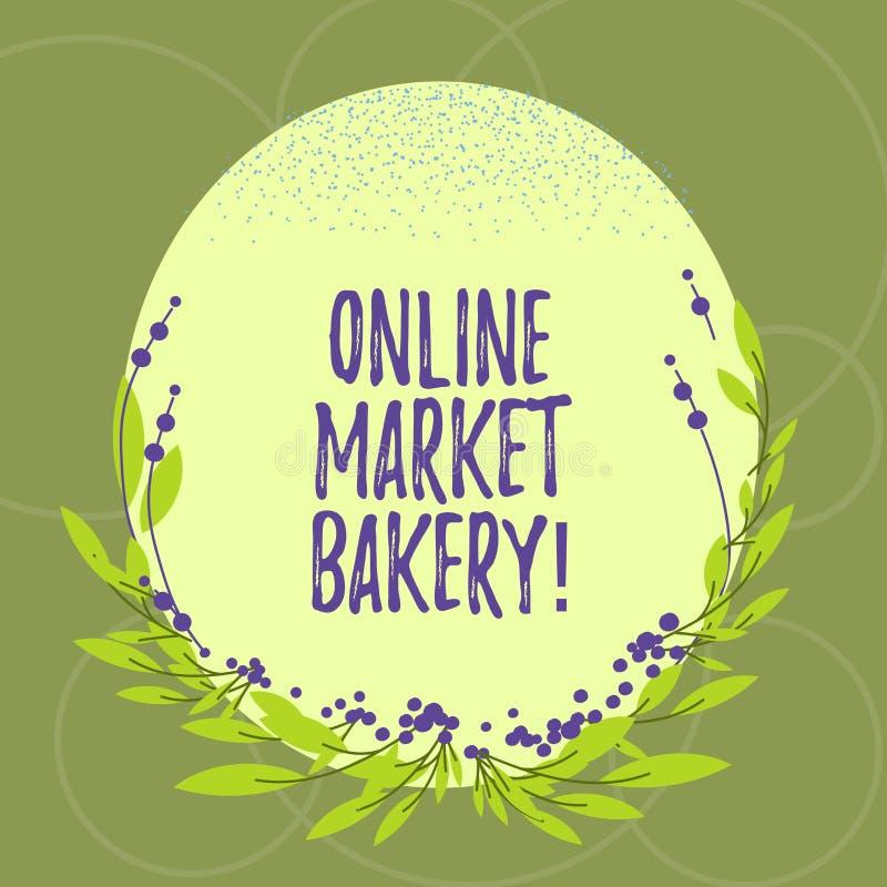 Segno del testo che mostra il forno online del mercato La foto concettuale produce e vende l'alimento flourbased cotto nel colore illustrazione di stock