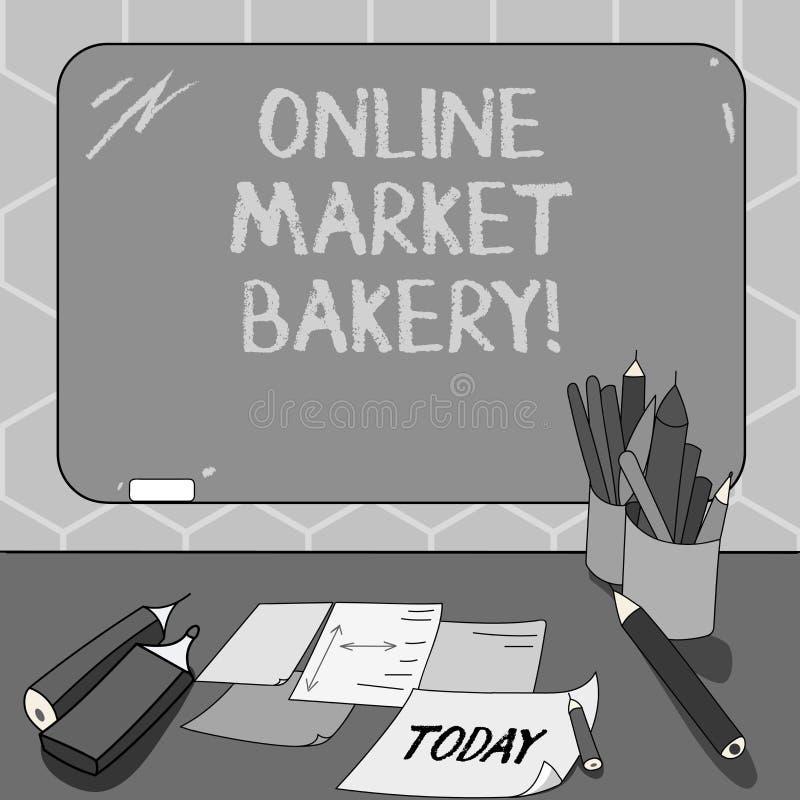 Segno del testo che mostra il forno online del mercato La foto concettuale produce e vende l'alimento flourbased cotto nello spaz royalty illustrazione gratis