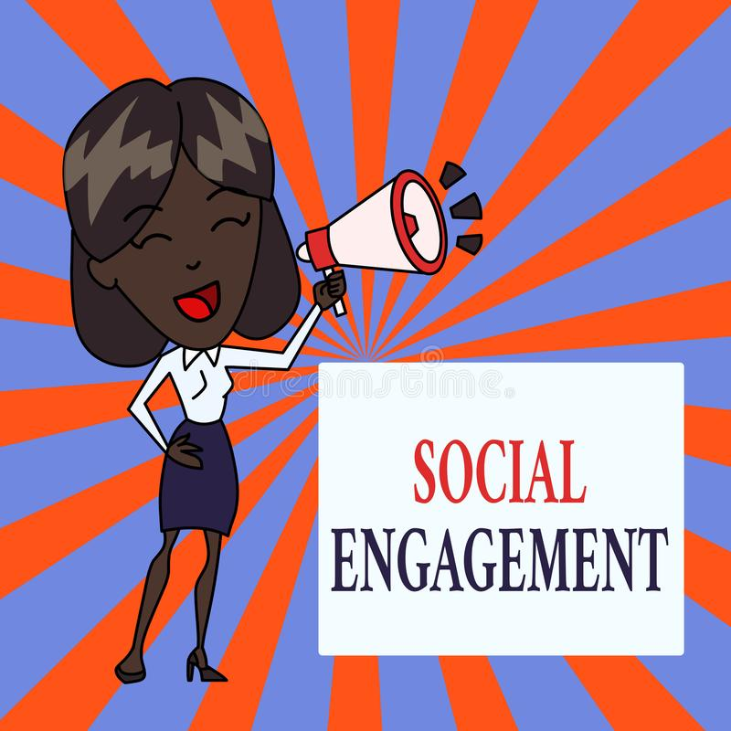 Segno del testo che mostra impegno sociale Grado concettuale della foto di impegno in comunità in linea o una giovane donna della royalty illustrazione gratis