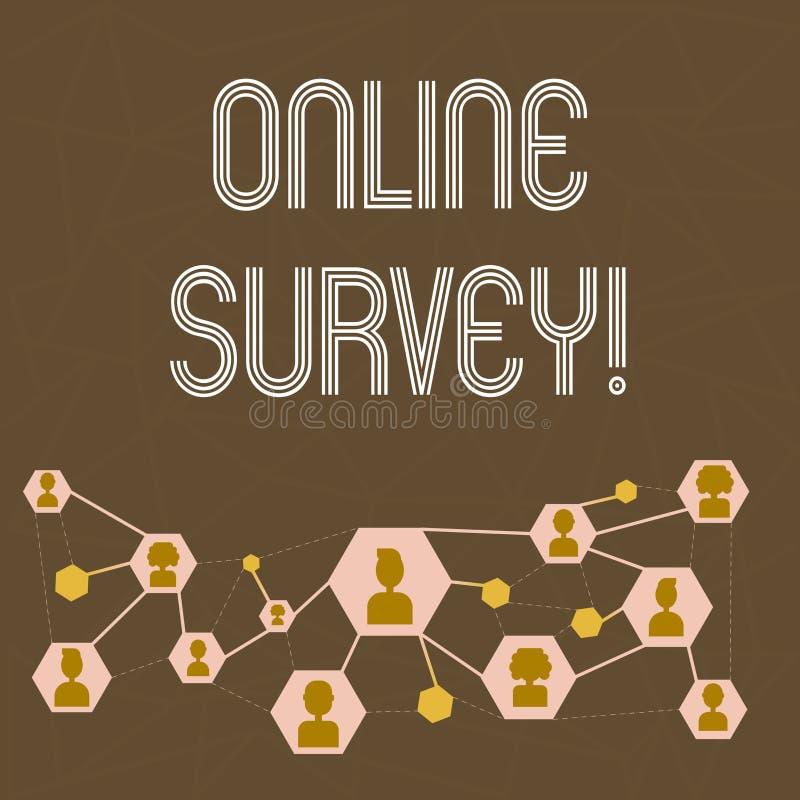 Segno del testo che mostra indagine online Questionario concettuale di opinioni di feedback dei clienti di scrutinio di Digital M illustrazione di stock