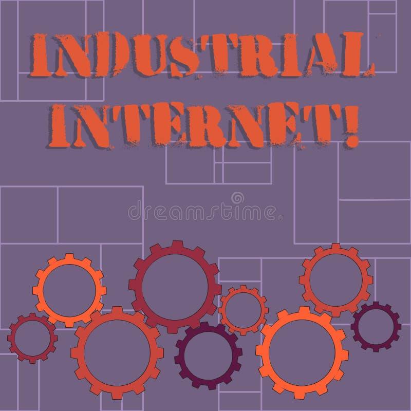 Segno del testo che mostra Internet industriale Uso concettuale della foto di Internet delle cose in dente variopinto dei settori illustrazione vettoriale