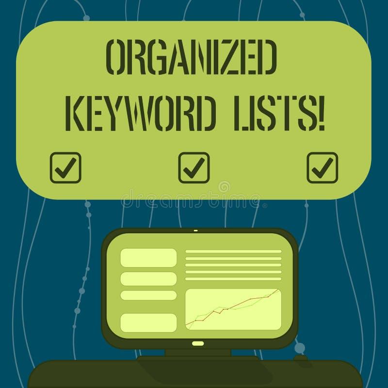 Segno del testo che mostra le liste organizzate di parola chiave Foto concettuale che prende lista delle parole chiavi e disporrl illustrazione vettoriale