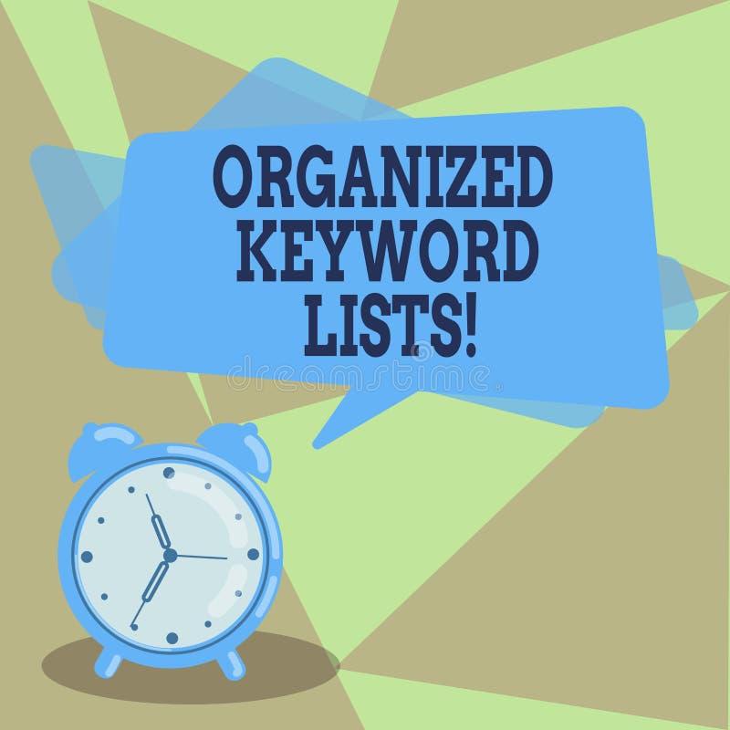 Segno del testo che mostra le liste organizzate di parola chiave Foto concettuale che prende lista delle parole chiavi e disporrl illustrazione di stock