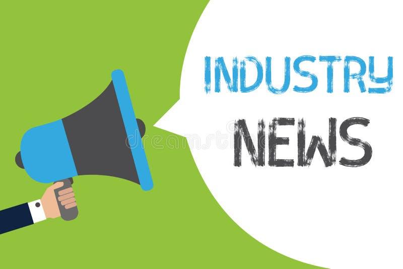 Segno del testo che mostra le notizie di industria Tenuta tecnica di Man del costruttore di commercio di fabbricazione rapporto d illustrazione vettoriale