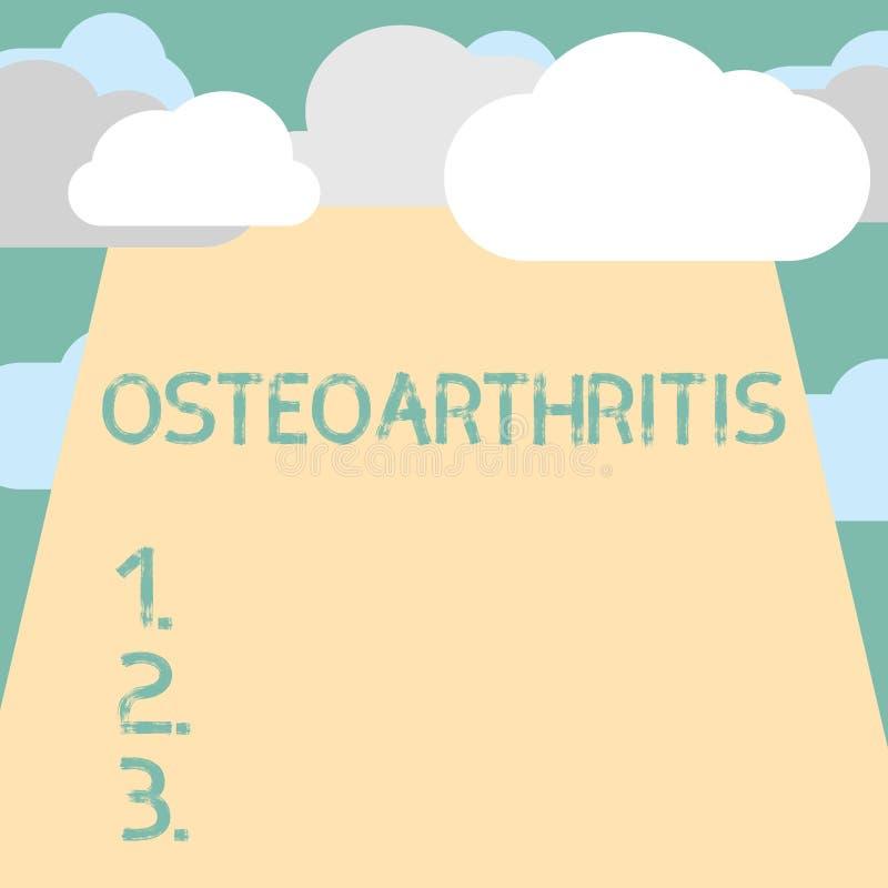 Segno del testo che mostra osteoartrite Degenerazione concettuale della foto di cartilagine unita e dell'osso di fondo illustrazione di stock