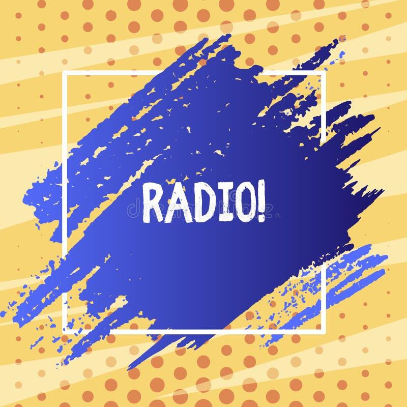 Segno del testo che mostra radio L'attrezzatura elettronica della foto concettuale utilizzata per ascoltare i programmi di radiod illustrazione vettoriale