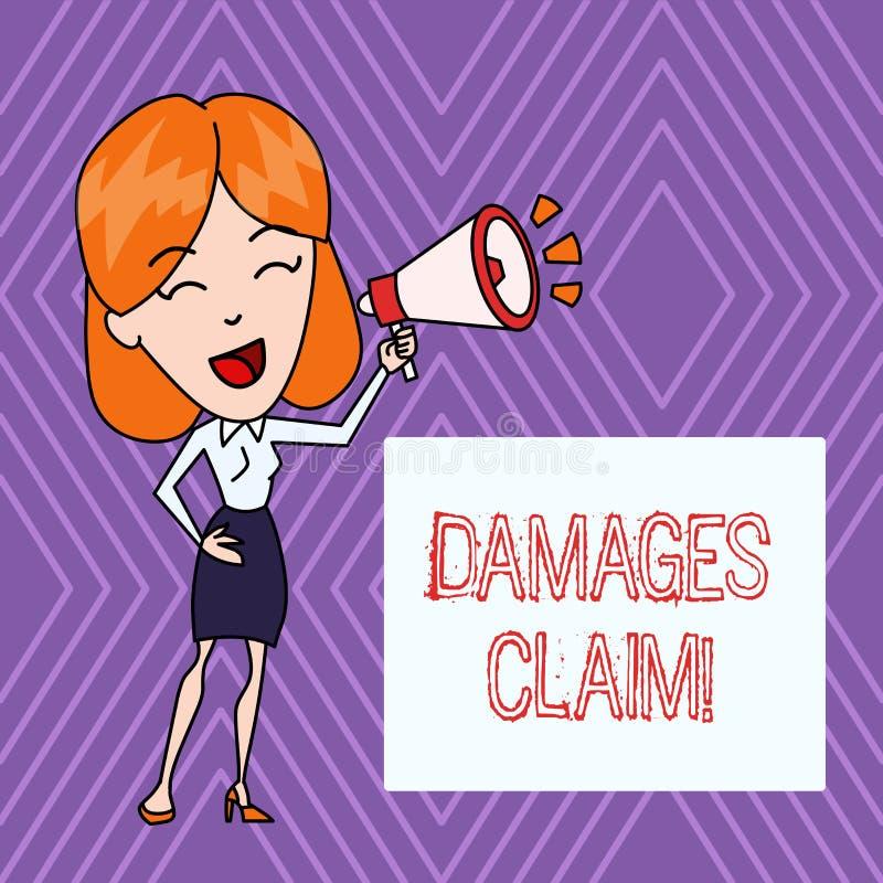 Segno del testo che mostra reclamo di danni Foto concettuale Deanalysisd sopra l'assicuratore per compensazione per un danno illustrazione di stock