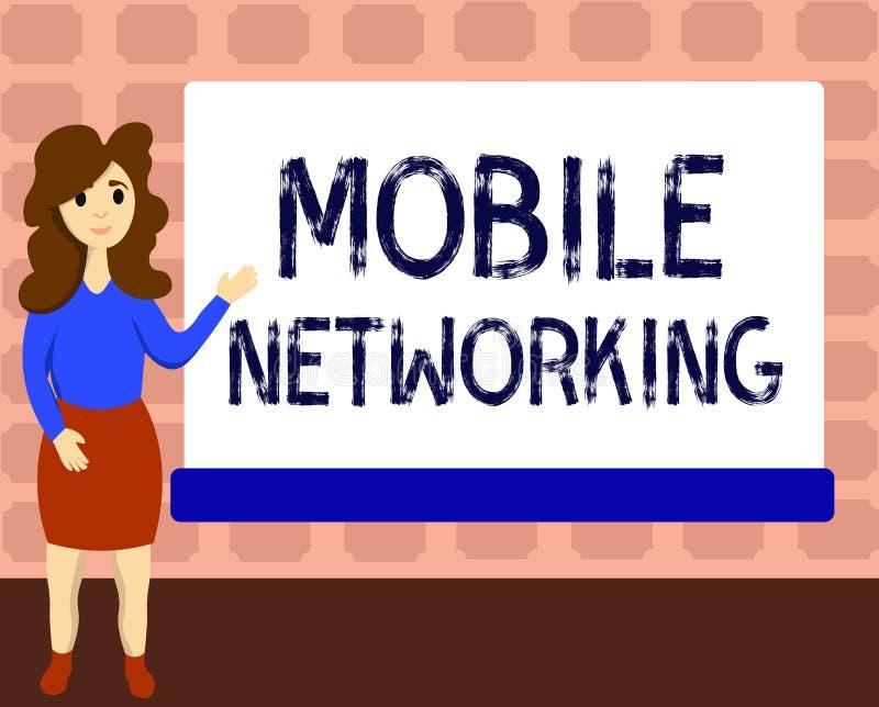 Segno del testo che mostra rete mobile Rete di comunicazione concettuale della foto dove l'ultimo collegamento è senza fili illustrazione vettoriale
