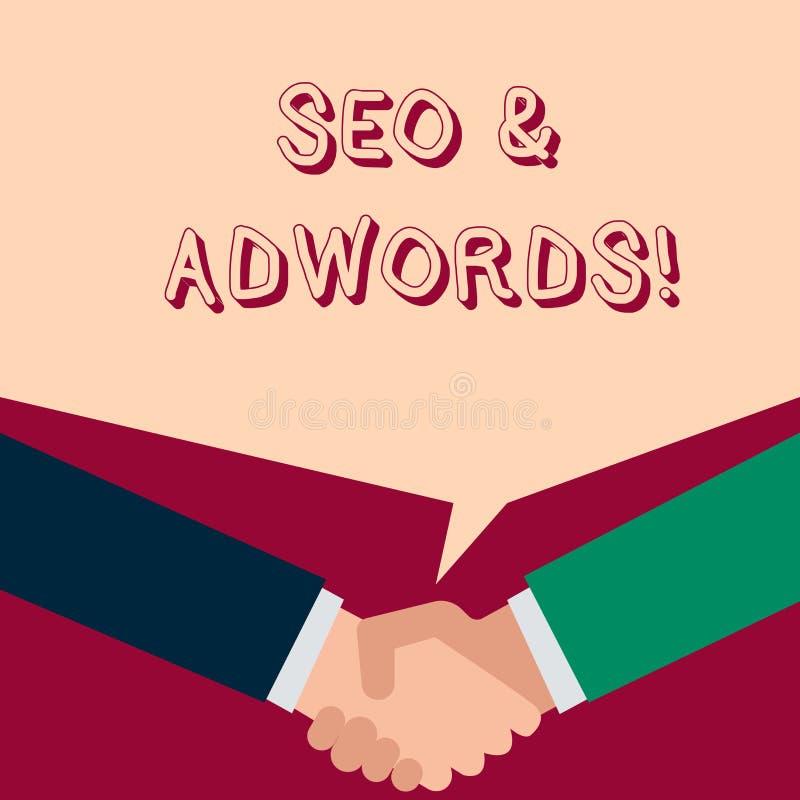 Segno del testo che mostra Seo e Adwords Foto concettuale sono componenti principali degli strumenti di posizionamento illustrazione di stock