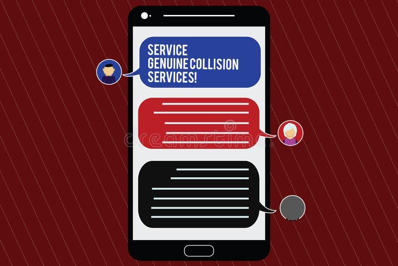 Segno del testo che mostra a servizio i servizi genuini di collisione Buon grande cellulare di servizi di incidente stradale auto illustrazione vettoriale