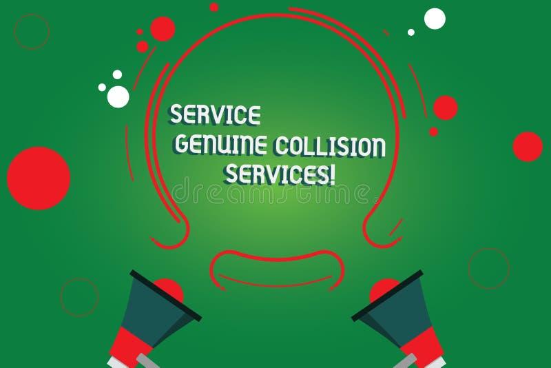 Segno del testo che mostra a servizio i servizi genuini di collisione Buon grande megafono di servizi due di incidente stradale a illustrazione di stock
