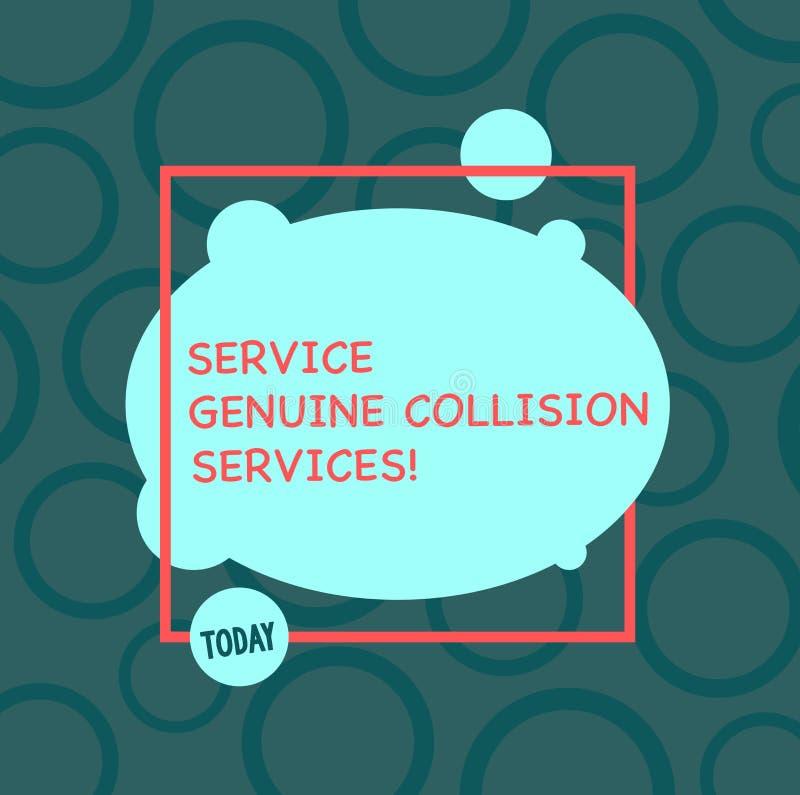 Segno del testo che mostra a servizio i servizi genuini di collisione Buoni grandi servizi di incidente stradale automatico conce illustrazione vettoriale