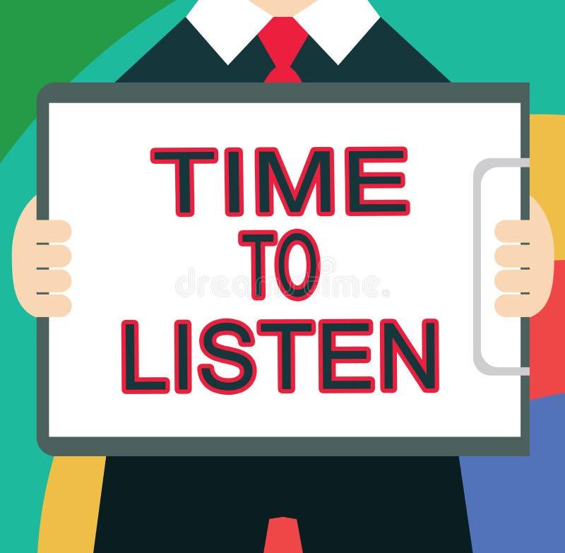 Segno del testo che mostra tempo di ascoltare Attenzione concettuale di elasticità della foto a qualcuno o a qualcosa per sentire illustrazione vettoriale
