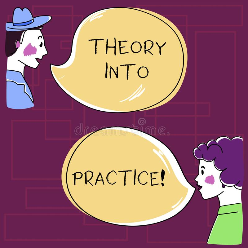 Segno del testo che mostra teoria in pratica E royalty illustrazione gratis