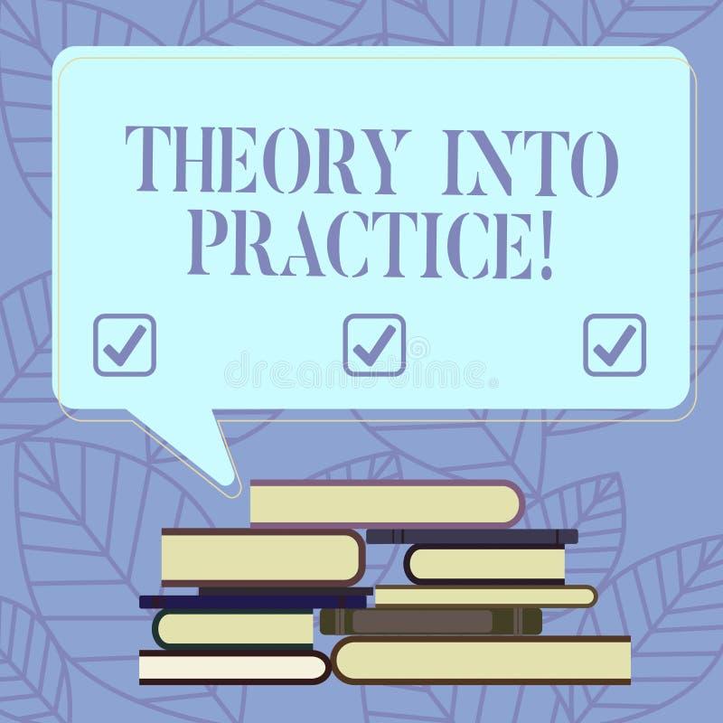 Segno del testo che mostra teoria in pratica Le mani concettuali della foto sull'apprendimento applicano la conoscenza nella situ royalty illustrazione gratis